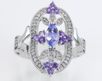 Diamond Tanzanite Amethyst Unique Cocktail Cluster Ring White Gold Size 7