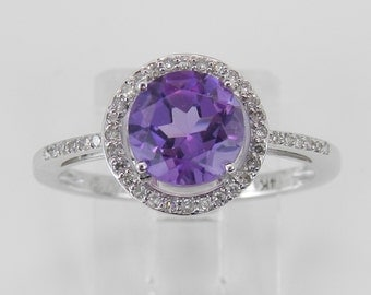 Diamond and Amethyst Halo Engagement Ring 14K White Gold Promise Ring Size 7