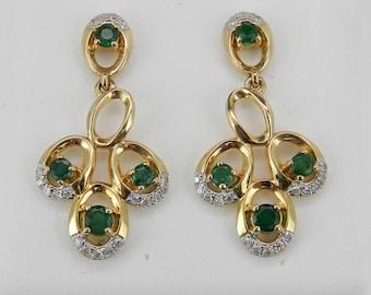 Emerald and Diamond Earrings 14K Yellow Gold Green Dangle Drop Wedding Earrings