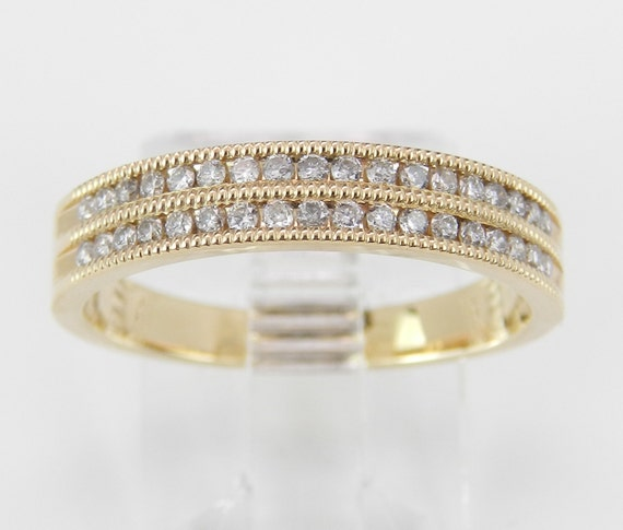 Yellow Gold Diamond Wedding Ring 2 Row Channel Set Anniversary Band Size 6.75 Stackable