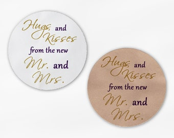 Hugs and Kisses From the New Mr. and Mrs. Wedding Favor Stickers - Gold and Dark Purple Custom Round Labels (2015)