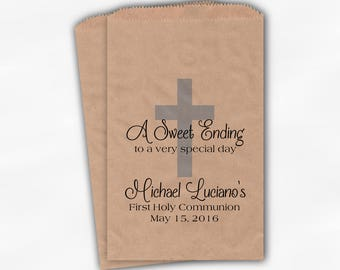 First Communion Favor Bags - Baptism or Religious Party Custom Favor Bags - Set of 25 Baby Blue on Kraft Paper Treat Bags (0073)