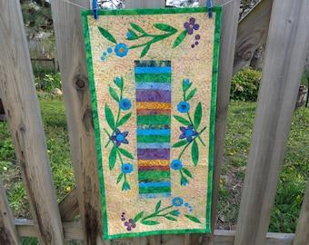 Floral Batik Runner, Mother's Day Runner, Batik Quilt 0503-02