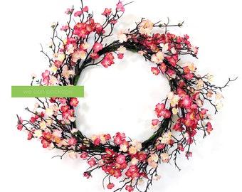 Artificial Cherry Blossom Wreath | 24 Inches Sakura Door Hanger | Spring Home Decoration | Front Door Wreaths