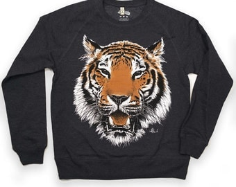 TIGER sweatshirt graphic sweatshirt organic jumper men's jumper unisex jumper tiger illustration  urban apparel streetwear illustrated