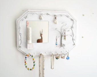 Jewelry Organizer Wall, Mirror, Jewelry Holder, Necklace Holder,  Wire Tree, Wood