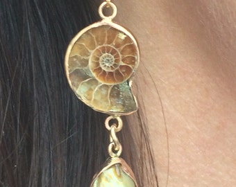 Ammonite and Pearl Gold-filled Earrings