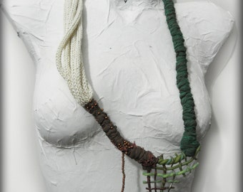 Unique organic mixed media necklace, artistic jewelry, green, brown, beige, wrapped jewelry, free form necklace, designer