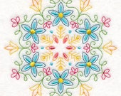 Bright Flowers (Vintage) Embroidered on Kona Cotton Quilt Block // Plain Weave Cotton Dish Towel // Also Available on Other Items