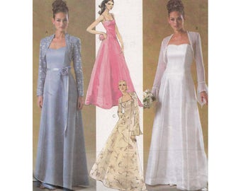 McCall's Evening Elegance Dress and Shrug Pattern 4450 M4450 Bust 34 36 38 40 Prom Bridal Formal Princess Seams Optional Straps