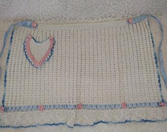 Vintage Clothing Apron ~ Vintage Crochet Apron ~ Heart Apron