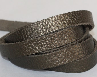 7-10 mm  Leather  Flat cord , Metallic Army Green Genuine Leather Strap, Olive Green Cowhide