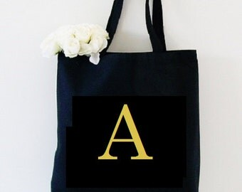 Monogram Tote bag, black tote bag with custom monogram, personalized black tote bag, monogrammed make up bag, cosmetic case fabric wallet