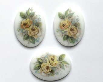 Vintage German Decal Cameos, German Porcelain Cameos, Vintage Yellow Rose on Porcelain, Rose Cameo, 40x30mm, B'sue Boutiques, Item02131