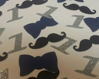 100 Bowtie mustache any age Little Man 1st birthday party table decor confetti Silver or Gold