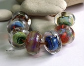 Encased Silver Glass Orphans, Lampwork Beads, SRA, UK
