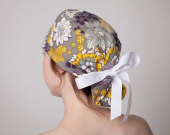 Surgical Hat, Scrub Hat, Scrub cap, Surgical cap, Ponytailed Scrub Hat, Ponytailed Scrub Cap~ Preppy Floral (Long Hair)