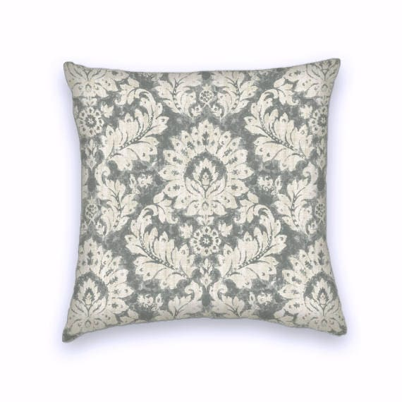22x22 Throw Pillow Covers : Stone Grey Floral Decorative Throw Pillow-18x18 or 20x20 or