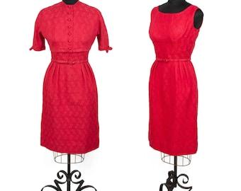 1950s Dress // Red Sleeveless Wiggle Dress with Bolero by Jeanne D'Arc