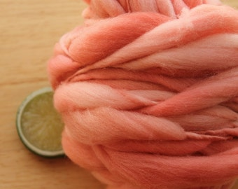 Antique Coral - Thick and Thin Handspun Merino Wool Yarn Salmon Pink