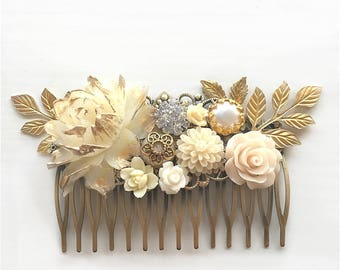 Ivory Gold Wedding Hair Comb, Cream Bridal Headpiece, Country, Rustic, Woodland, Romantic, Hair Pin, Bride, Hair Clip, Maid of Honor, Gift