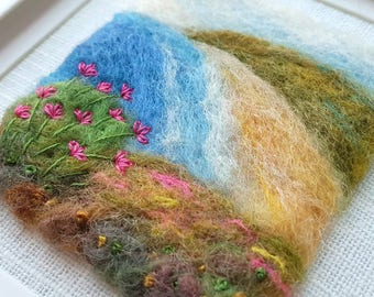 Sea thrift by the beach - an original felted and embroidered coastal scene - fiber art seaside picture
