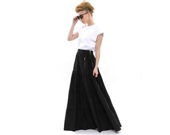 Grey Maxi Skirt with pockets, ruffle maxi skirt, Party Outfits, maxi skirt boho, Gypsy Skirt, stylish and fashionable