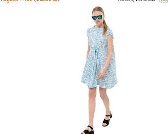 Tie Waist Shirt Dress, Swingy Cotton Dress, Short Sleeve Summer Dress