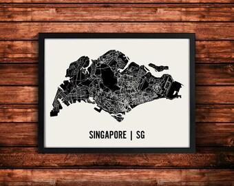 Singapore Map Art Print | Singapore Print | Singapore Art Print | Singapore Poster | Singapore Gift | Wall Art