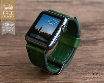 Apple Watch Leather Band Watch Band in Forest Green Color for Series 1 and 2 [Handmade] [Custom Colors]