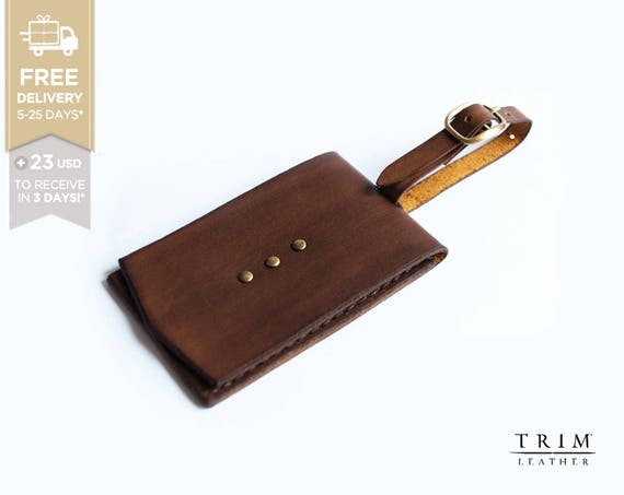 Leather Luggage Tag [FREE SHIPPING] [Handmade] [Custom Colors]