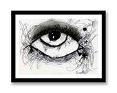 Abstract black and white eye -- Ink and charcoal -- Original or print -- unique gift idea -- Mounted or unmounted -- Female eye