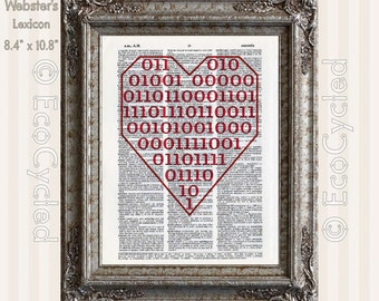 Binary Heart says I Love You in Nerd Romantic Typography on Vintage Upcycled Dictionary Art Print Book Art Print Recycled Repurposed