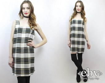 90s Plaid Dress Plaid Mini Dress White Plaid Dress 90s Dress 90s Mini Dress 1990s Dress 90s Grunge Dress 1990s Plaid Dress M