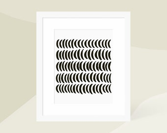 Black and White Scandinavian Art Print / Minimalist Abstract Wall Art / Crescent Moon / 18x24 16x20 11x14 8x10 5x7 / Framed and Matted