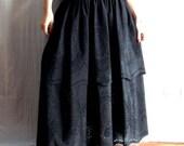Black long skirt, maxi skirt, bohemian skirt, floor length skirt, boho skirt, women's skirt