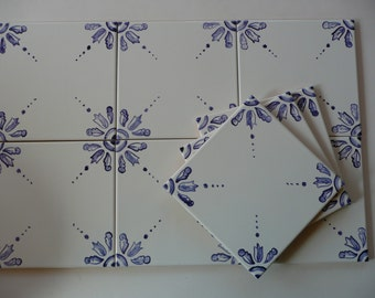Blue and White Delft Style Handpainted Tiles - 6x6