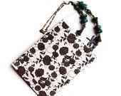 "30%OFF SALE 20 Paper Bags, Flat gift bags - 4x5,25"" - Floral Print, Beige, Black, Flower Ornament, Craft Bag, party favors, kraft bags, PP04"