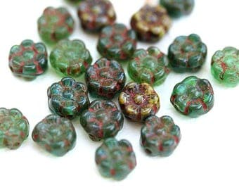 7mm Small Flower beads mix, Rustic Picasso Green czech pressed glass beads, tiny daisy flower - 20pc - 2949
