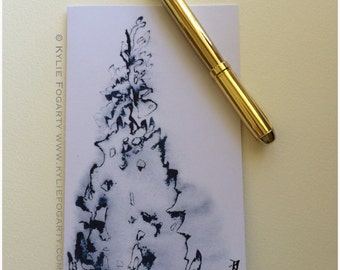 Fine Art Christmas Card - Blue Christmas Tree - Christmas Tree - Art Card - 2016 Christmas Card