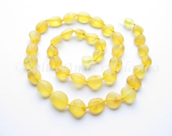 Baltic Amber Necklace, Raw Unpolished Bean Form Lemon Color Beads