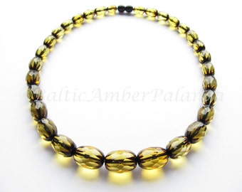 Baltic Amber Necklace, Luxury Green Color Faceted Beads