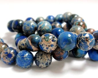 "Dark Blue Imperial Jasper Round Beads, 10mm Navy Imperial Natural Gemstone Beads, 10"" Strand - 26 Beads"