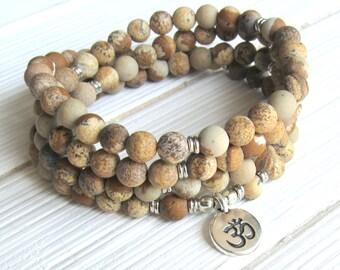 Prayer beads, Matte Picture Jasper. 108 beads, Mala Bracelet or Necklace, Buddhist Rosary,Prayer beads, Gemstone, Mala, Lotus, buddha, ohm