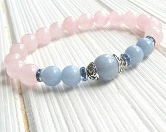 Angelite bracelet, Rose Quartz, healing bracelet, calming, Yoga Bracelet, Meditation bracelet, Reiki, wrist mala, angelite bracelet