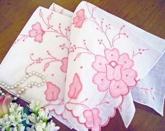 Vintage Madeira Handkerchief, Pink Flower Appliques, Hand Embroidered, New Old Stock, 2 Available, MINT