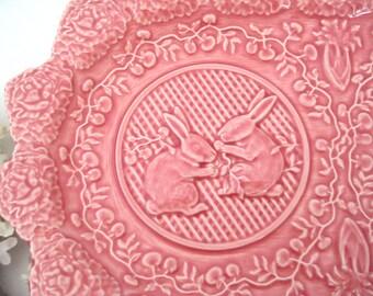 Vintage Rabbit Pink Sandwich Platter, Raised Embossed, Vegetables Pattern, Bordallo Pinheiro Portugal