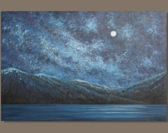 FREE SHIP large abstract painting, semi abstract nocturn painting, starry night sky landscape painting mountains, impressionist, milky way