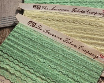 Vintage yellow and mint green lace vintage lace vintage sewing Notions lace & trim quilting