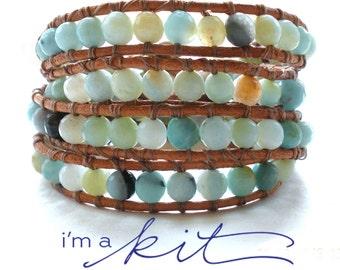 wrap bracelet kit -  blue green amazonite beads: DIY KIT supplies & tutorial